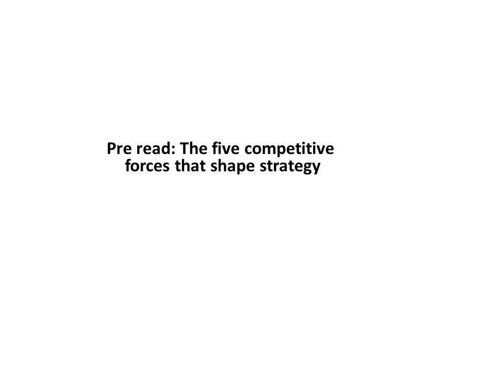 Pre read: The five competitive forces that shape strategy