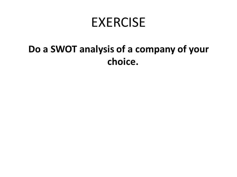 Do a SWOT analysis of a company of your choice.