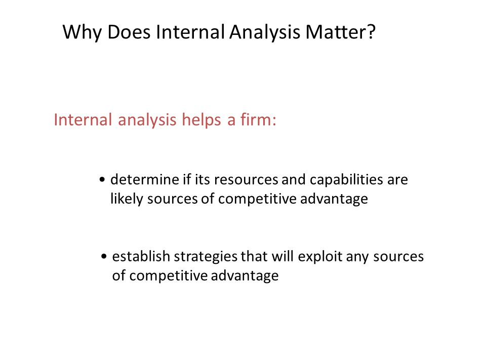 Why Does Internal Analysis Matter
