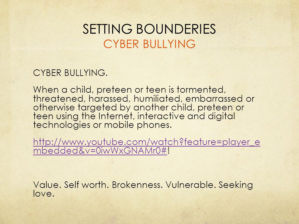 SETTING BOUNDERIES CYBER BULLYING