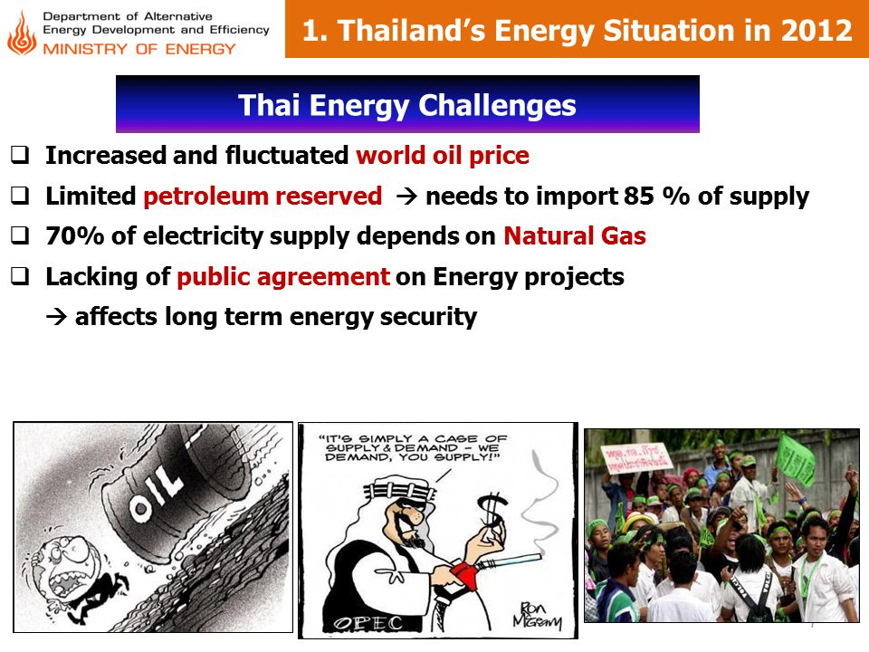 1. Thailand's Energy Situation in 2012 Thai Energy Challenges