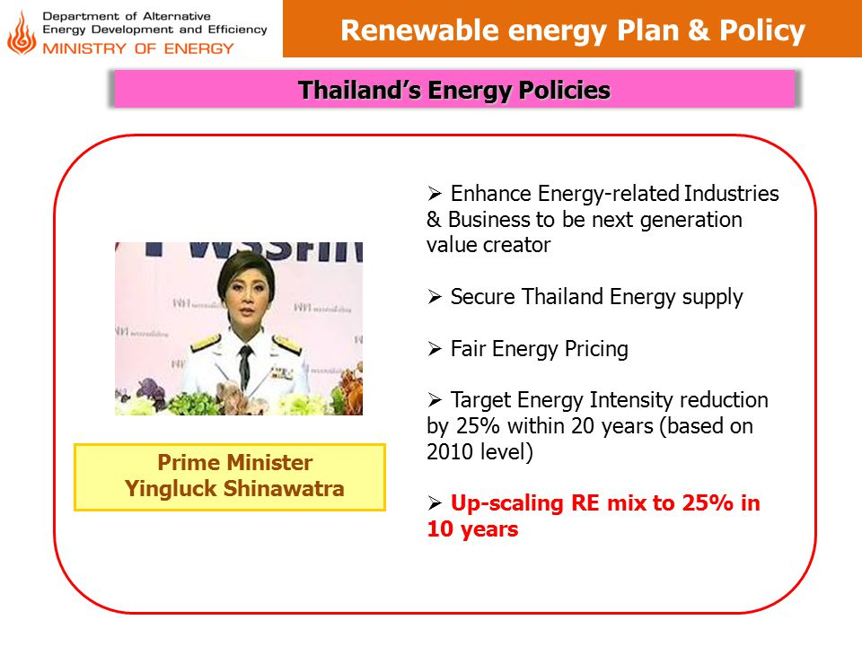 Renewable energy Plan & Policy Thailand's Energy Policies