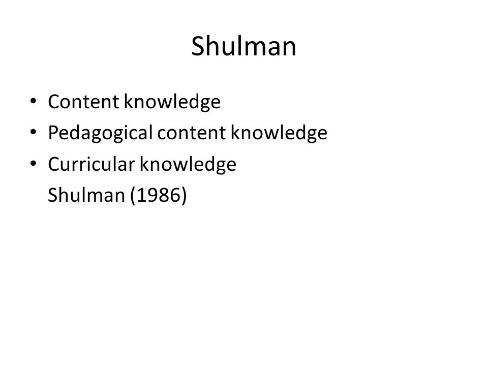 Shulman Content knowledge Pedagogical content knowledge