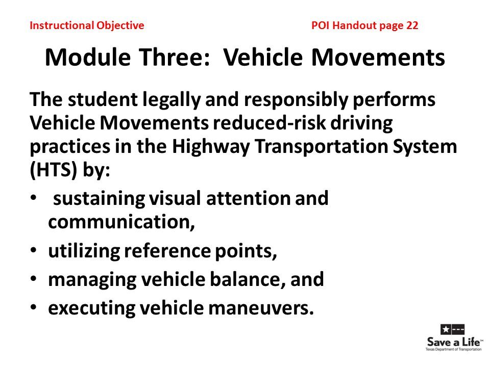 Module Three: Vehicle Movements