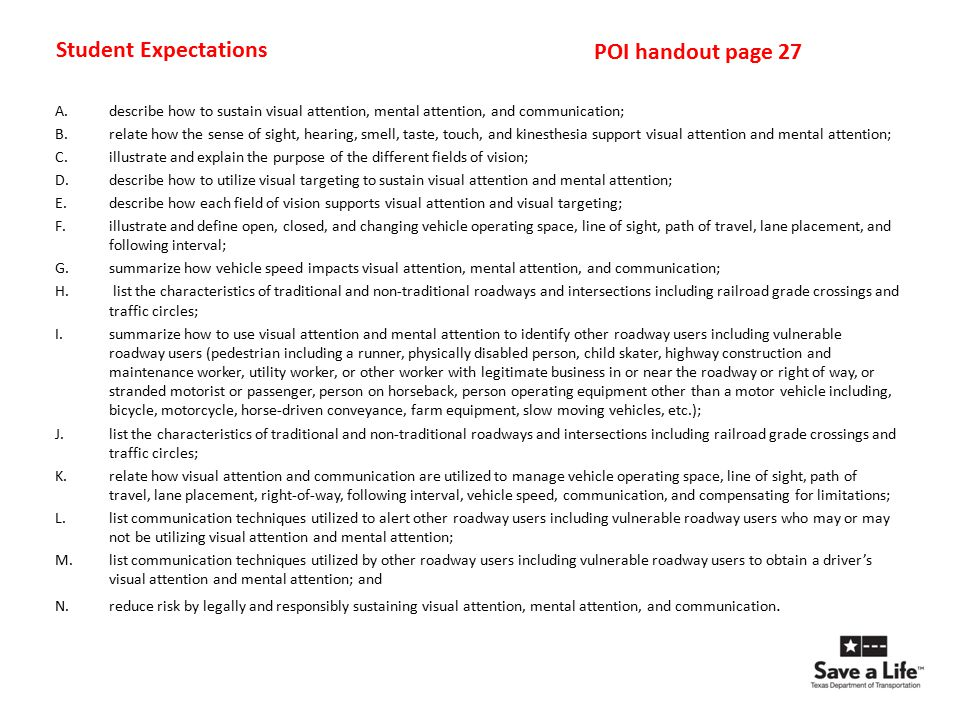 Student Expectations POI handout page 27