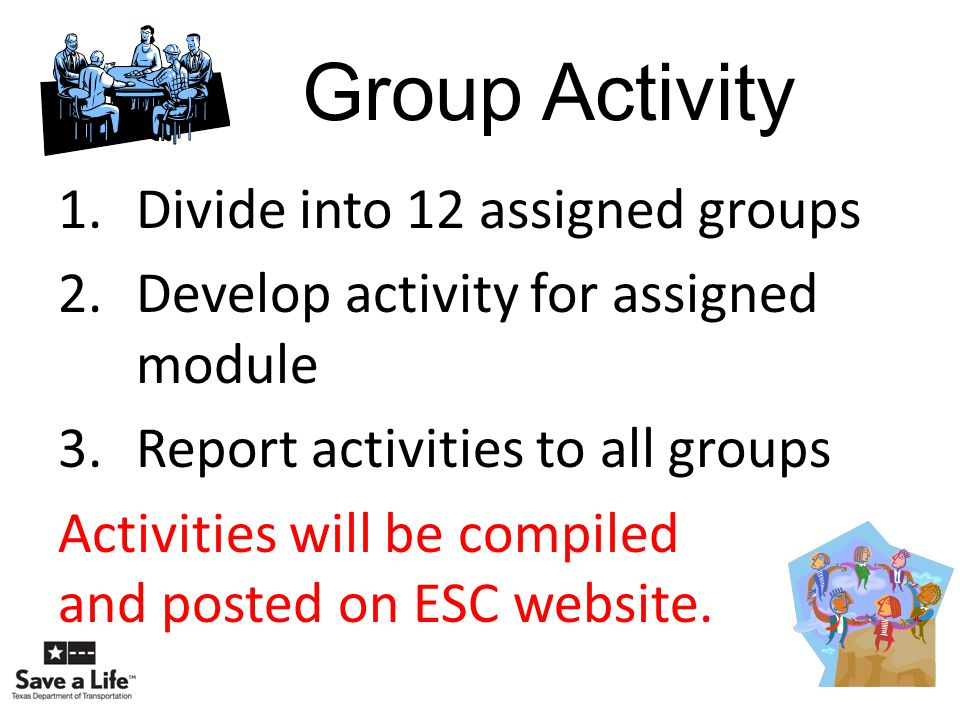 Group Activity Divide into 12 assigned groups