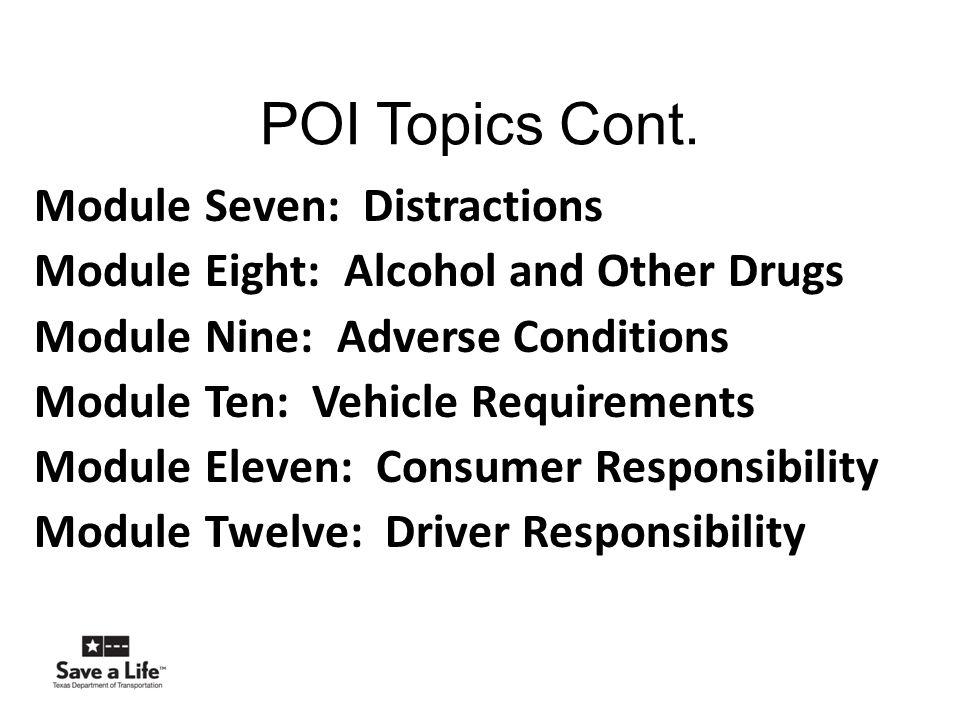 POI Topics Cont.
