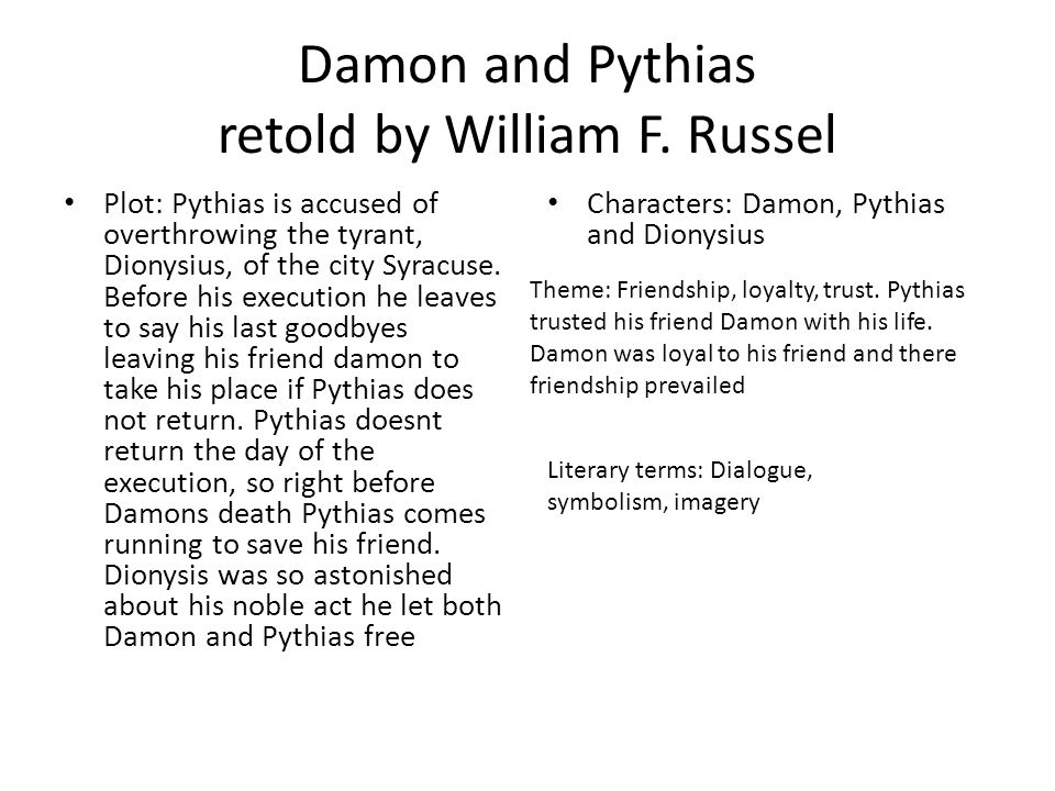 Damon and Pythias retold by William F. Russel