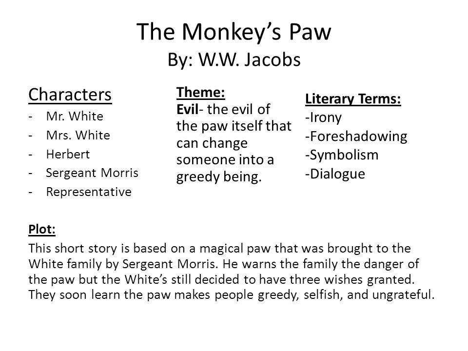 an analysis of the coincidences and irony in the monkeys paw The monkey's paw • the leap literary analysis the events in a story make up its plot a plot has exposition, rising action, a climax, falling action.