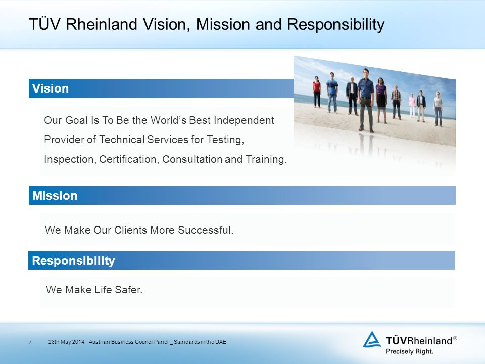 TÜV Rheinland Vision, Mission and Responsibility