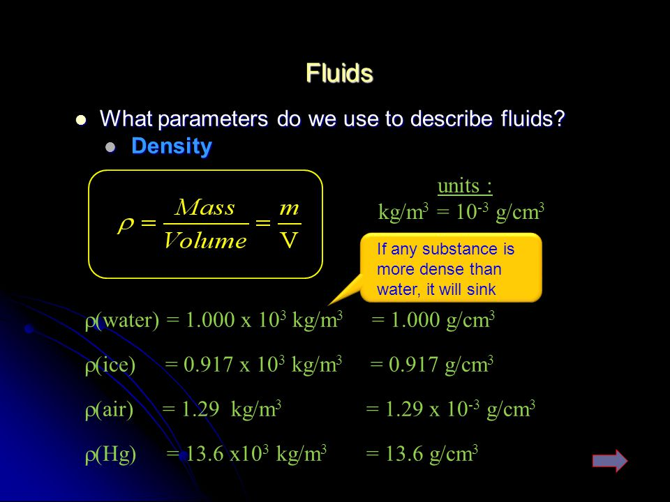 Fluids What parameters do we use to describe fluids Density units :