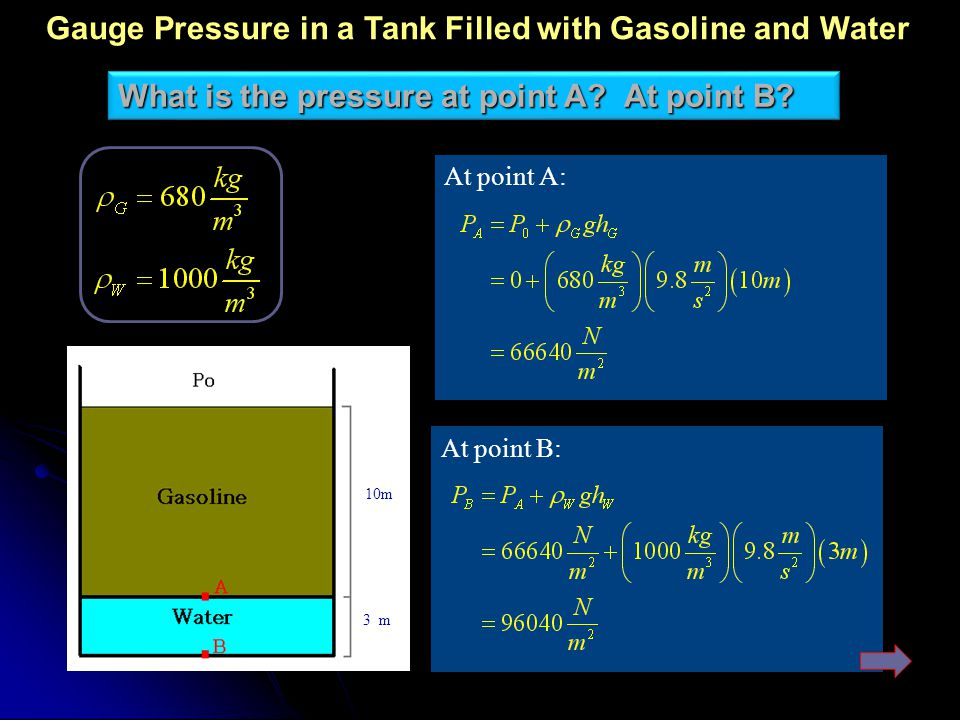 Gauge Pressure in a Tank Filled with Gasoline and Water