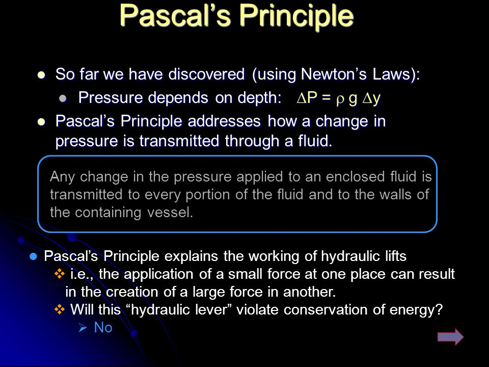 Pascal's Principle So far we have discovered (using Newton's Laws):