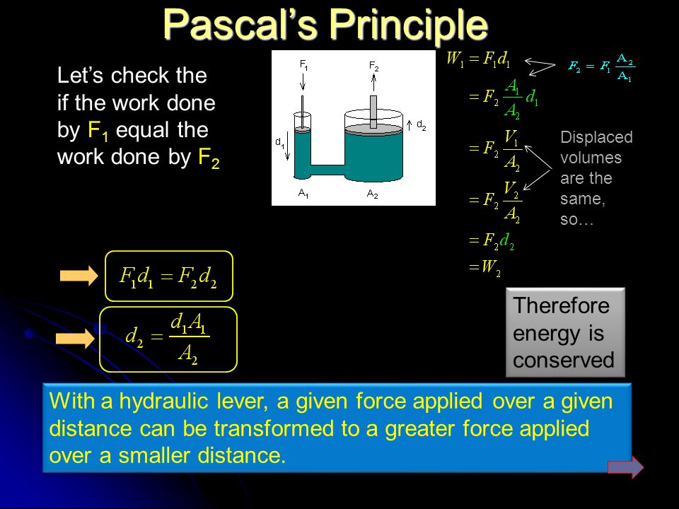 Pascal's Principle Let's check the if the work done by F1 equal the work done by F2. Displaced volumes are the same, so…