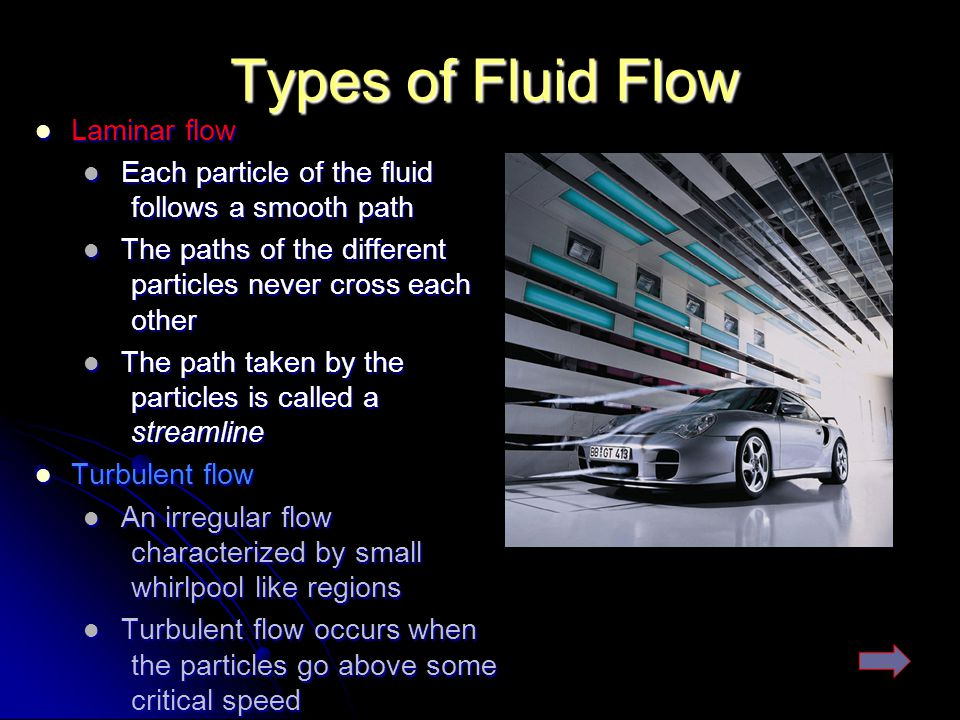 Types of Fluid Flow Laminar flow