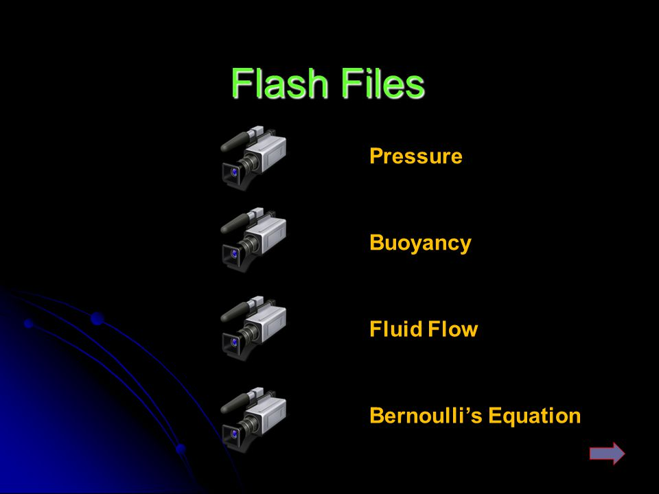 Flash Files Pressure Buoyancy Fluid Flow Bernoulli's Equation