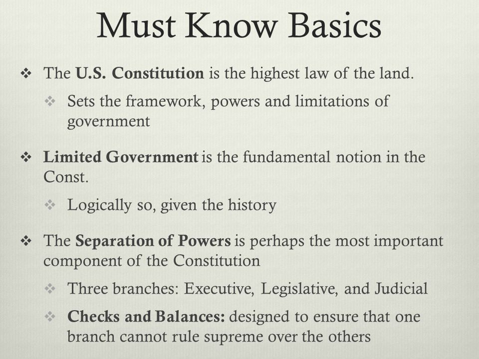 Must Know Basics The U.S. Constitution is the highest law of the land.