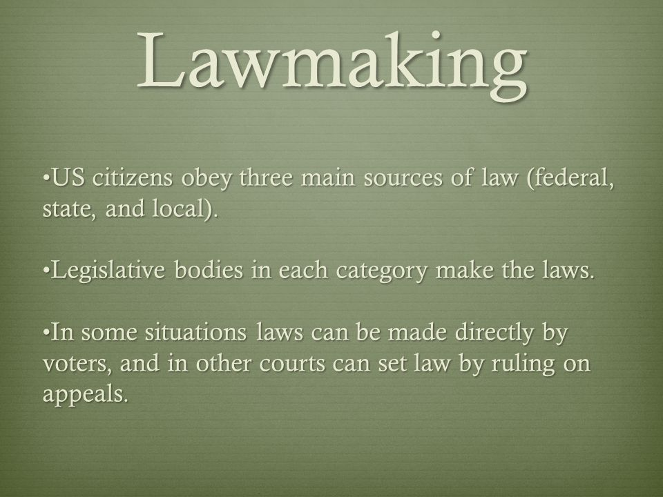 Lawmaking US citizens obey three main sources of law (federal, state, and local). Legislative bodies in each category make the laws.