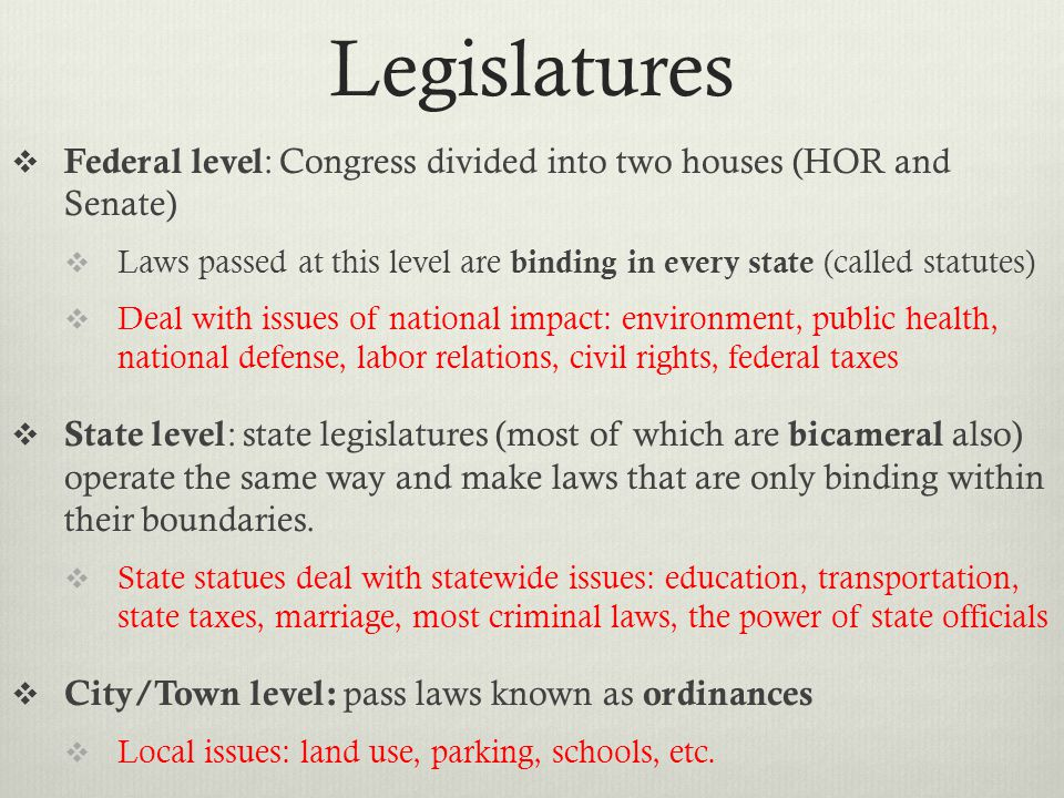 Legislatures Federal level: Congress divided into two houses (HOR and Senate)