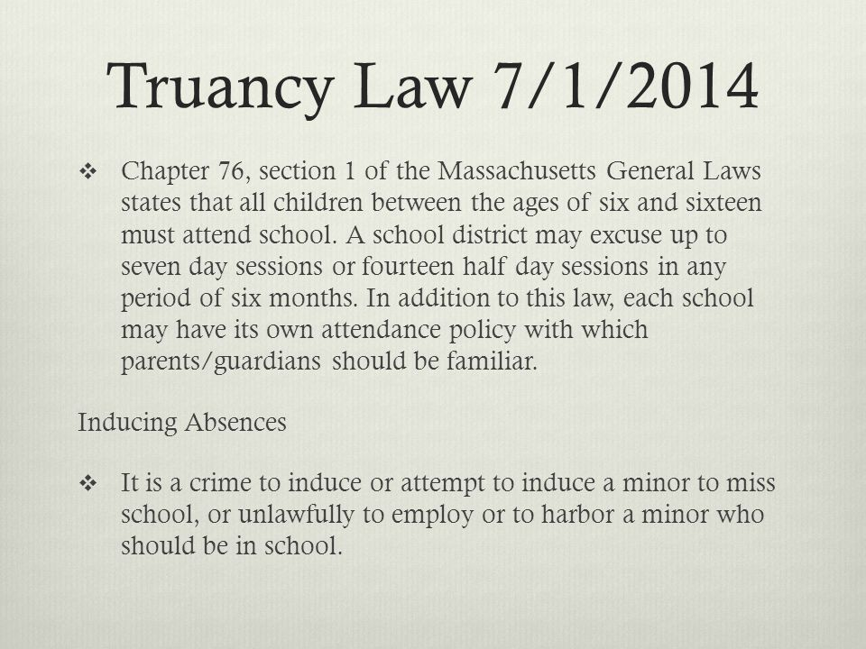 Truancy Law 7/1/2014