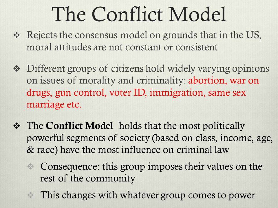 The Conflict Model Rejects the consensus model on grounds that in the US, moral attitudes are not constant or consistent.