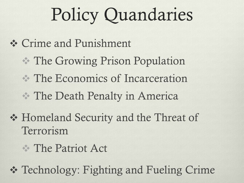 Policy Quandaries Crime and Punishment The Growing Prison Population