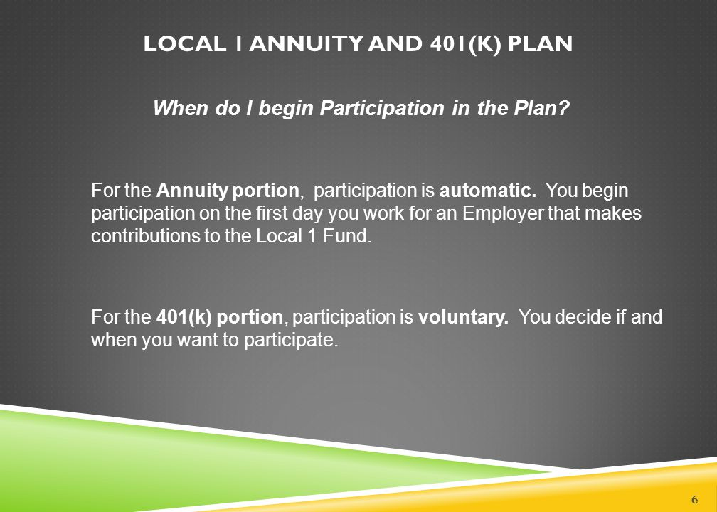 LOCAL 1 ANNUITY AND 401(K) PLAN
