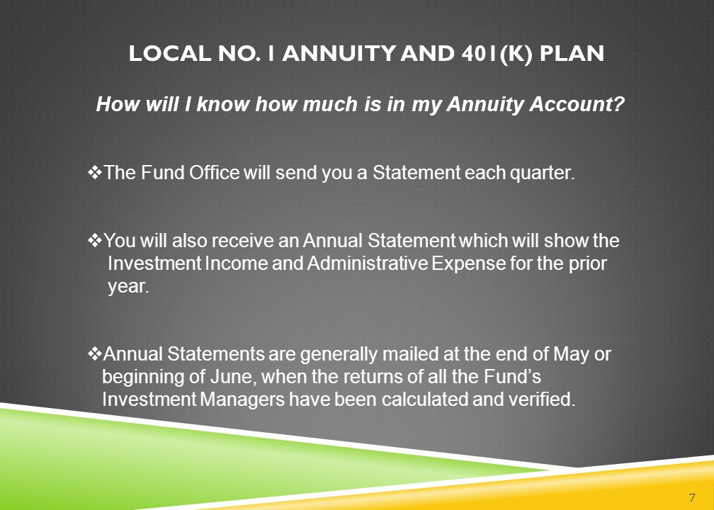 LOCAL NO. 1 ANNUITY AND 401(k) PLAN