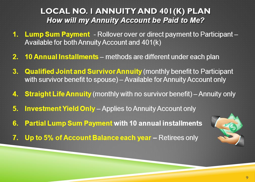 LOCAL NO. 1 ANNUITY AND 401(k) PLAN How will my Annuity Account be Paid to Me