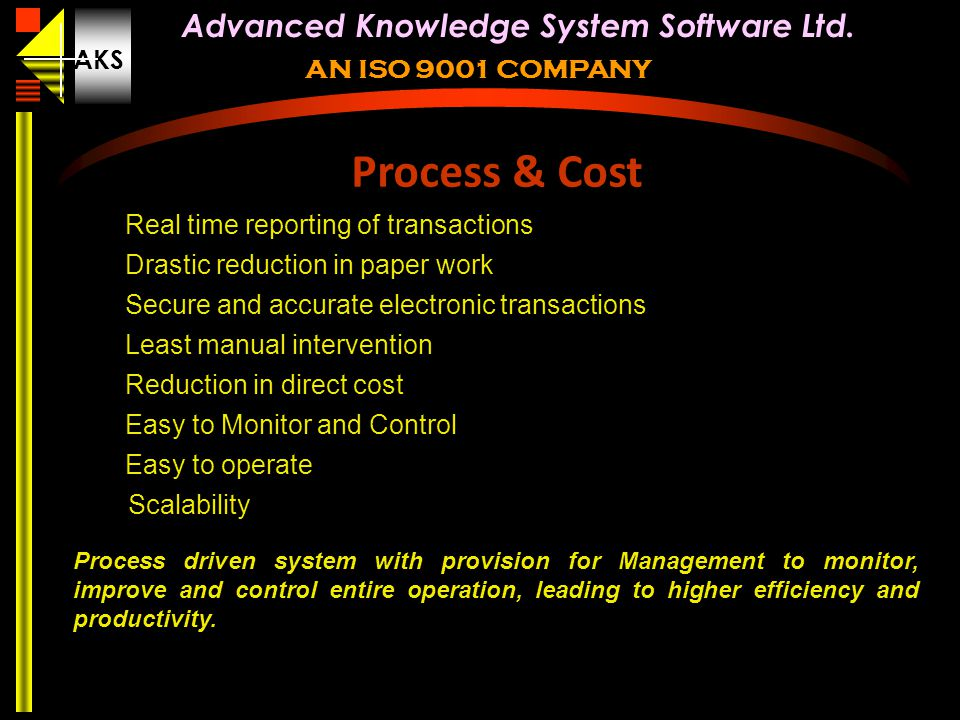 Process & Cost Real time reporting of transactions