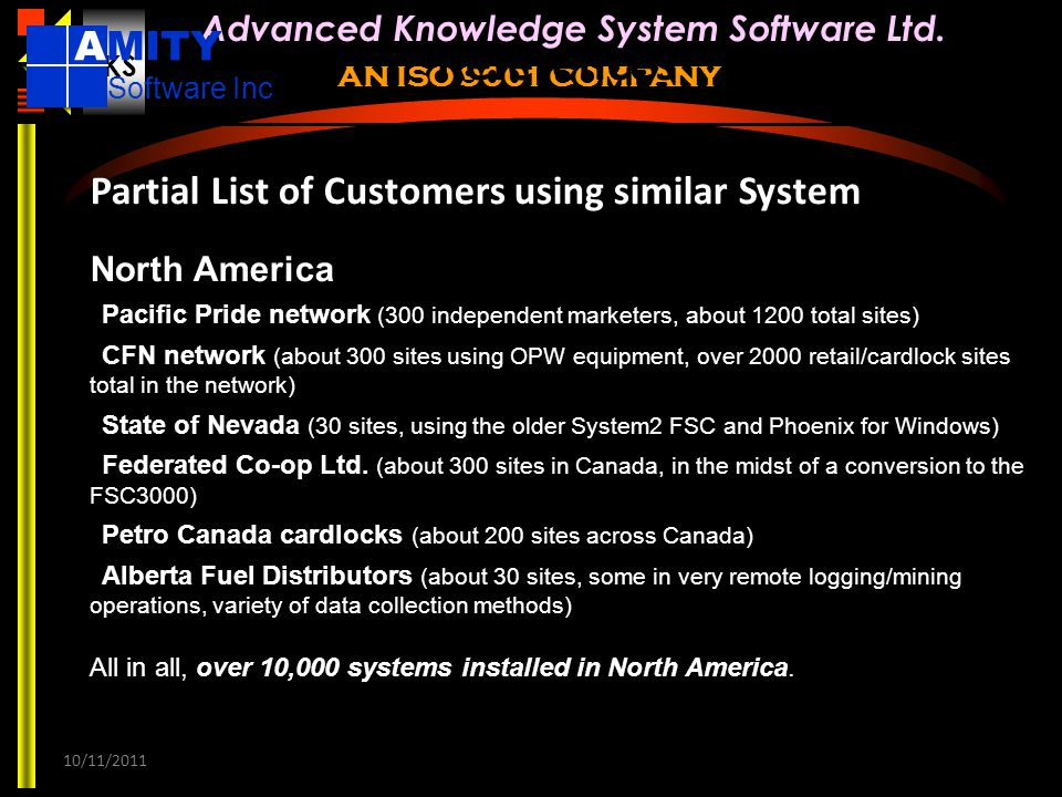 References AMITY Partial List of Customers using similar System