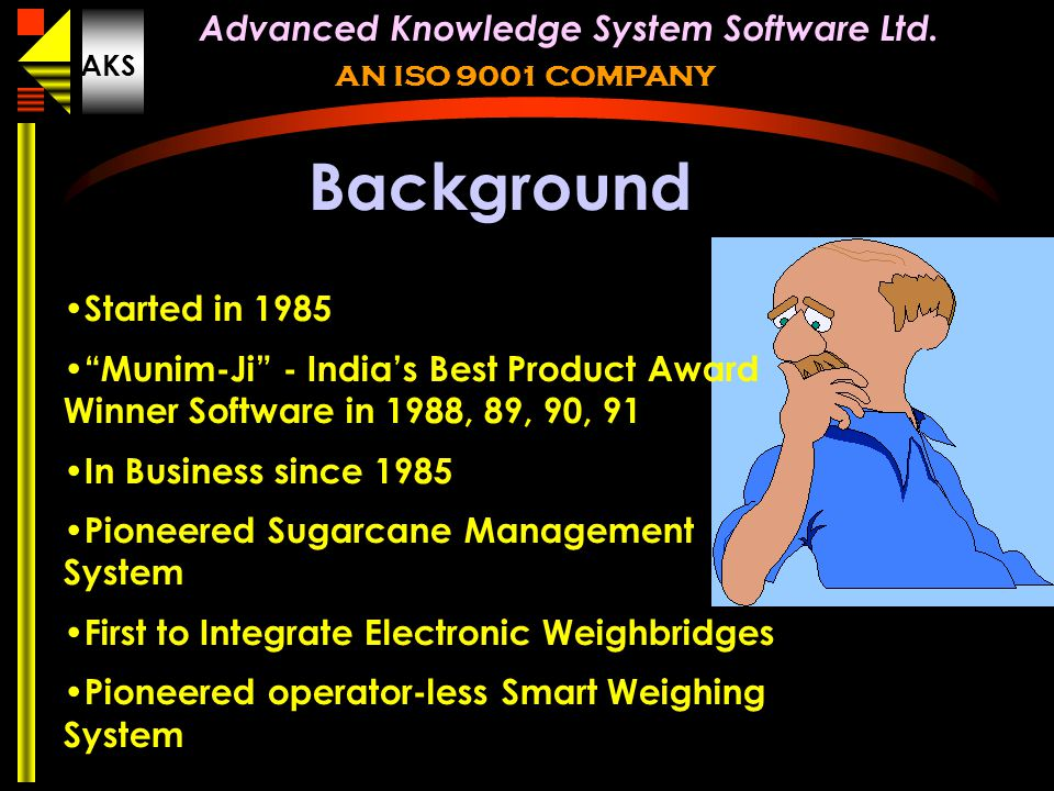 Background Started in 1985. Munim-Ji - India's Best Product Award Winner Software in 1988, 89, 90, 91.