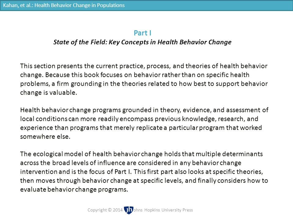 State of the Field: Key Concepts in Health Behavior Change
