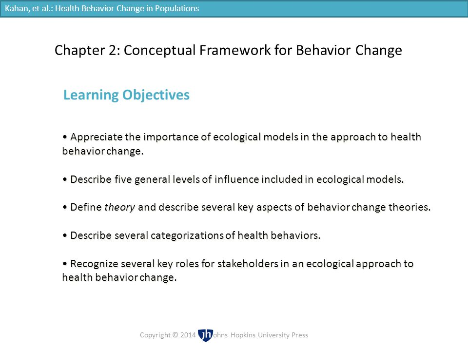 Chapter 2: Conceptual Framework for Behavior Change