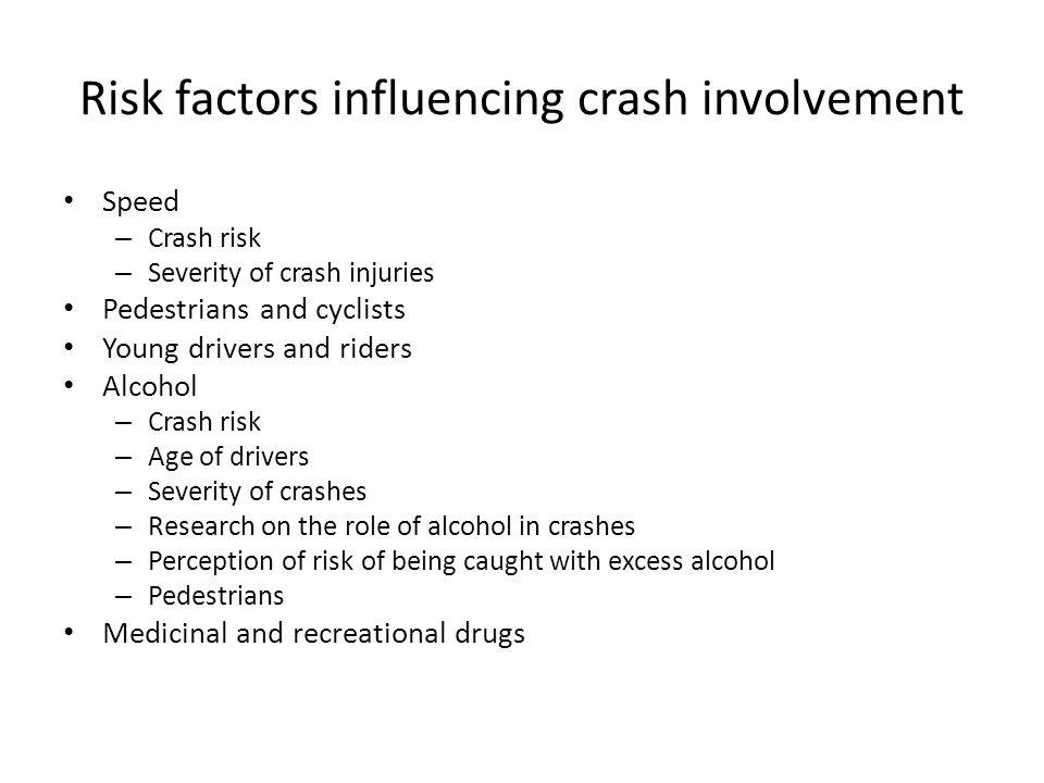 Risk factors influencing crash involvement