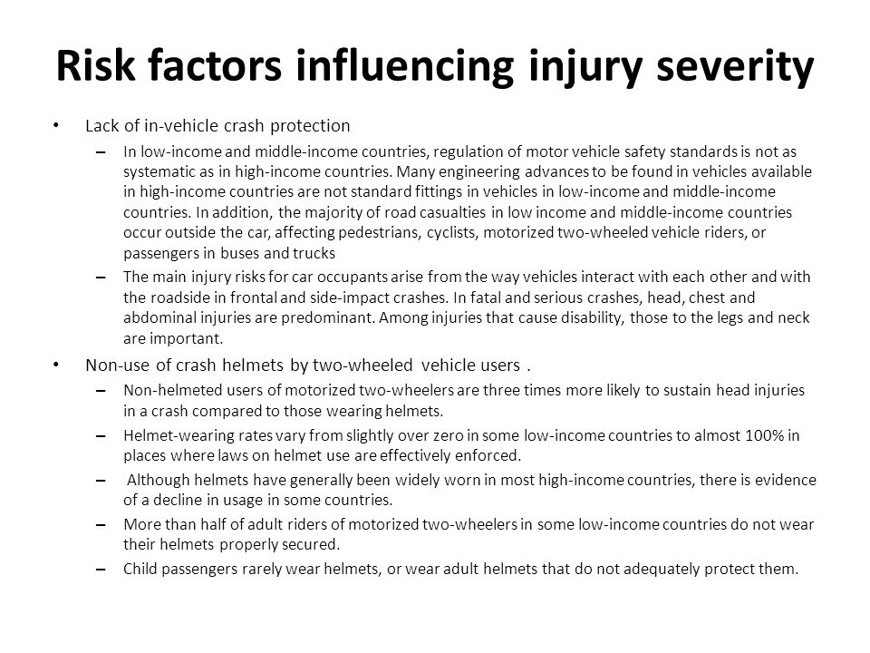 Risk factors influencing injury severity
