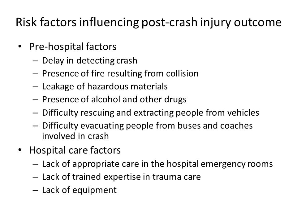 Risk factors influencing post-crash injury outcome