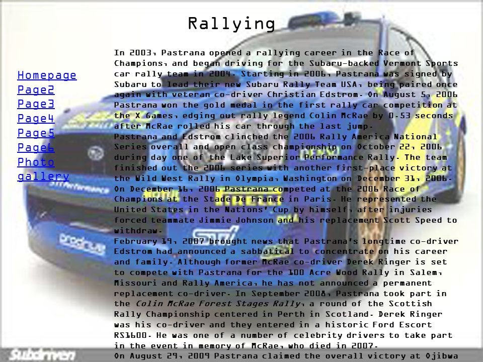 Rallying Homepage Page2 Page3 Page4 Page5 Page6 Photo gallery