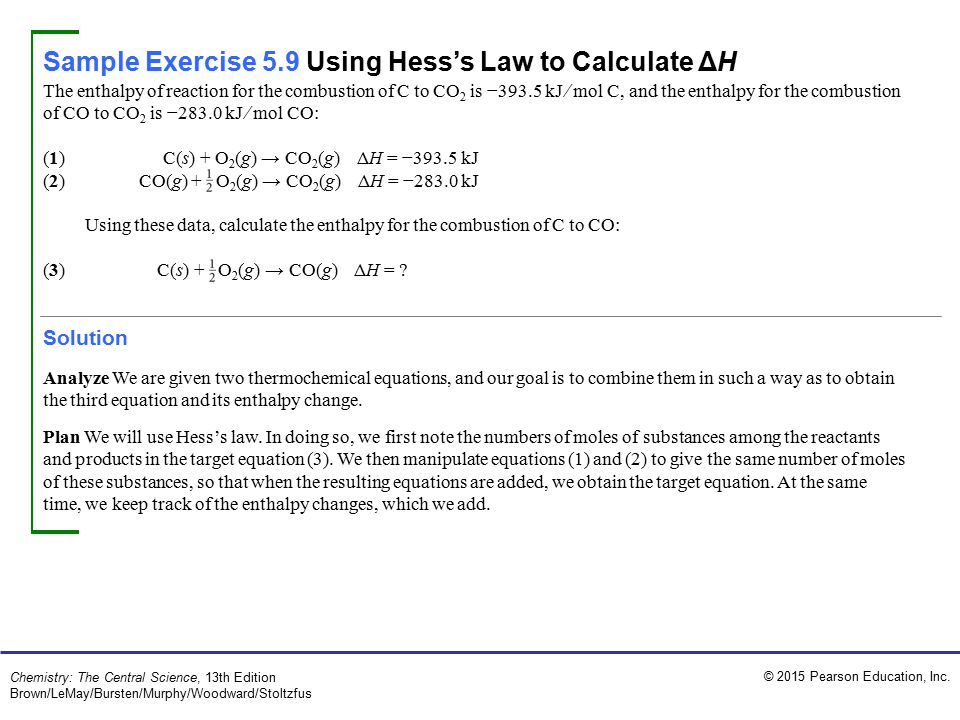 Sample Exercise 5.9 Using Hess's Law to Calculate ΔH