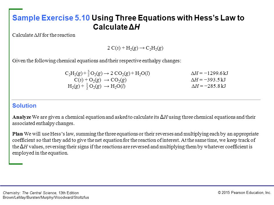 Sample Exercise 5.10 Using Three Equations with Hess's Law to Calculate ΔH