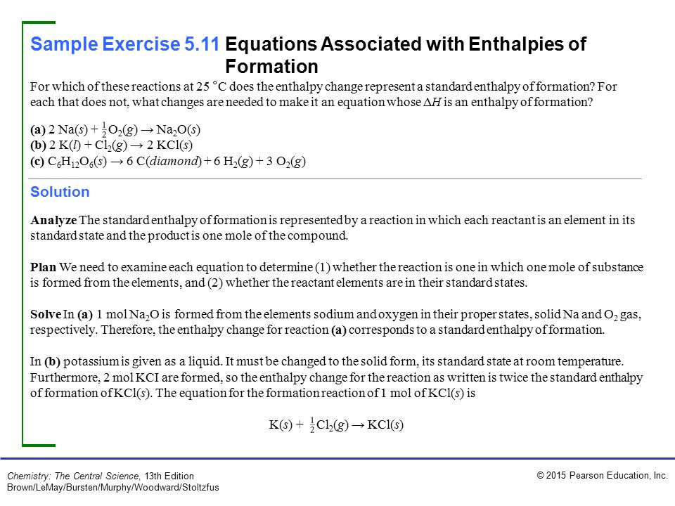 Sample Exercise 5.11 Equations Associated with Enthalpies of Formation