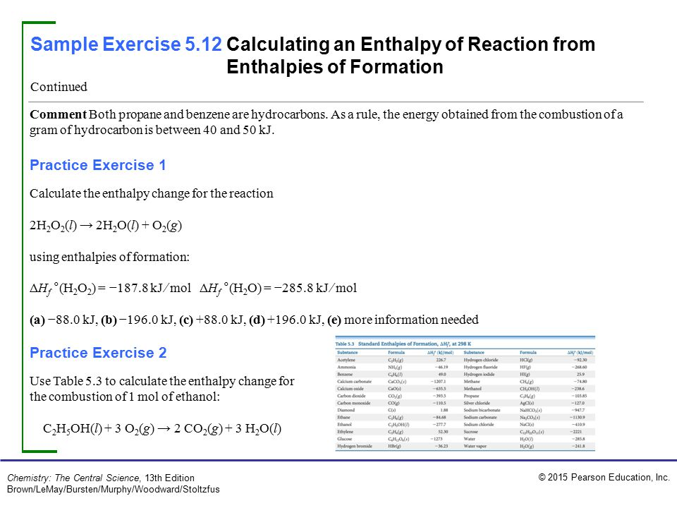 Sample Exercise 5.12 Calculating an Enthalpy of Reaction from Enthalpies of Formation