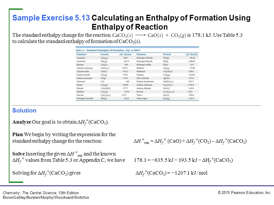 Sample Exercise 5.13 Calculating an Enthalpy of Formation Using Enthalpy of Reaction