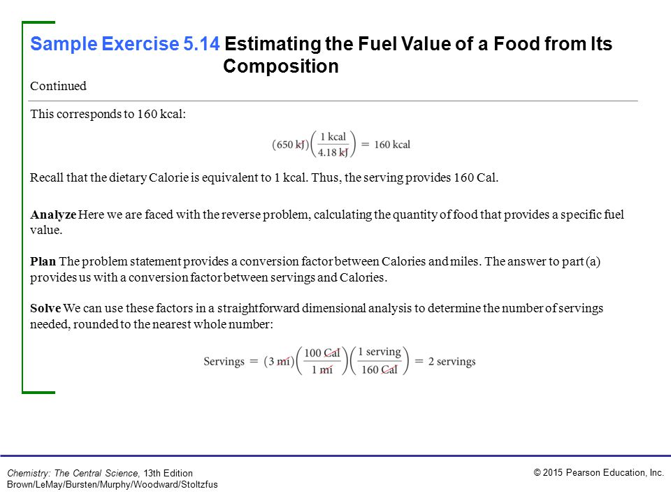 Sample Exercise 5.14 Estimating the Fuel Value of a Food from Its Composition