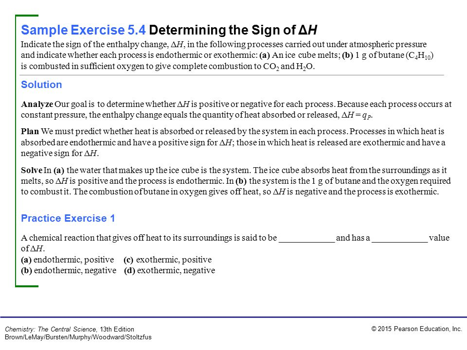 Sample Exercise 5.4 Determining the Sign of ΔH