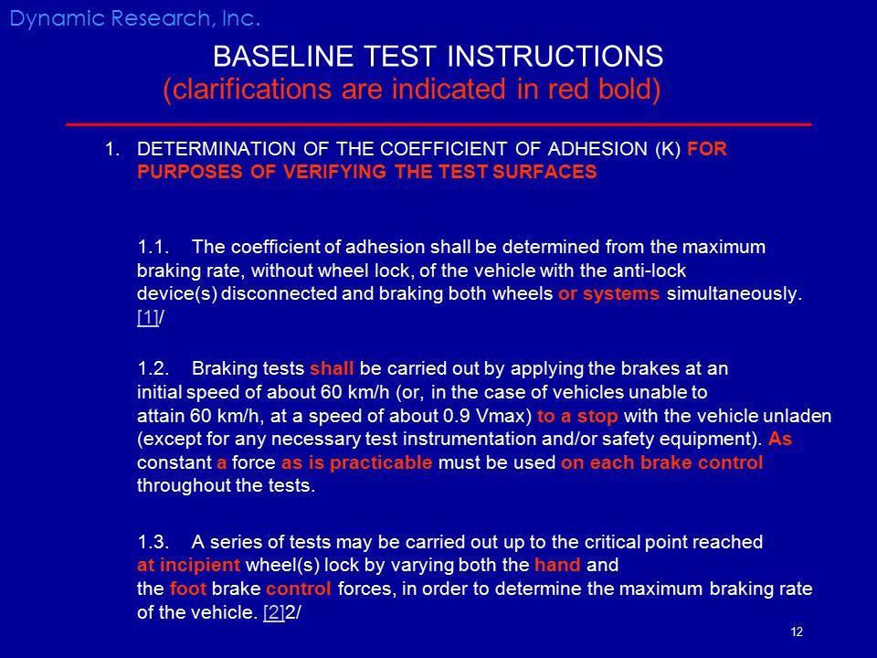 BASELINE TEST INSTRUCTIONS