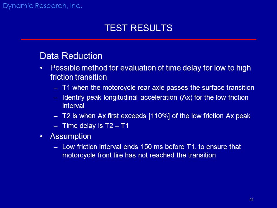 TEST RESULTS Data Reduction