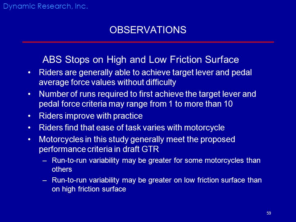 ABS Stops on High and Low Friction Surface