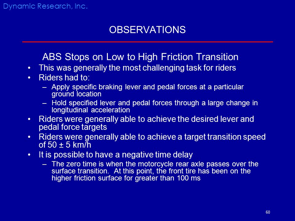 ABS Stops on Low to High Friction Transition