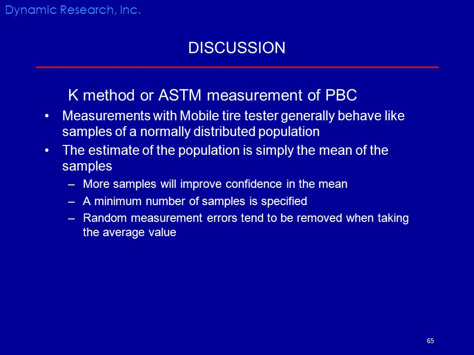 K method or ASTM measurement of PBC